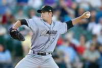 Omaha Storm Chaser pitcher Everett Teaford delivers against the Round Rock Express in Pacific Coast League baseball on Monday April 11th, 2011 at Dell Diamond in Round Rock Texas.  (Photo by Andrew Woolley / Four Seam Images)
