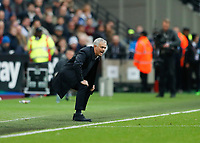 23rd November 2019; London Stadium, London, England; English Premier League Football, Tottenham Hotspur Manager Jose Mourinho shouting at his players from the touchline  - Strictly Editorial Use Only. No use with unauthorized audio, video, data, fixture lists, club/league logos or 'live' services. Online in-match use limited to 120 images, no video emulation. No use in betting, games or single club/league/player publications