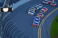 19-20 February, 2016, Daytona Beach, Florida USA<br /> Chase Elliott takes the white flag ahead of Elliott Sadler and Darrell Wallace Jr.<br /> ©2016, F. Peirce Williams