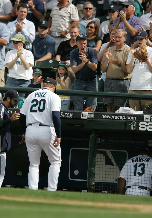 27 June 2007: Fans cheer Seattle Mariners pitcher #20 J.J. Putz ..Seattle Mariners vs Boston Red Sox at Safeco Park in Seattle, Washington.