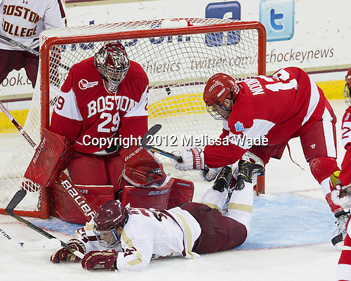 Matt O'Connor (BU - 29), Steven Whitney (BC - 21), Garrett Noonan (BU - 13) - The Boston College Eagles defeated the visiting Boston University Terriers 5-2 on Saturday, December 1, 2012, at Kelley Rink in Conte Forum in Chestnut Hill, Massachusetts.