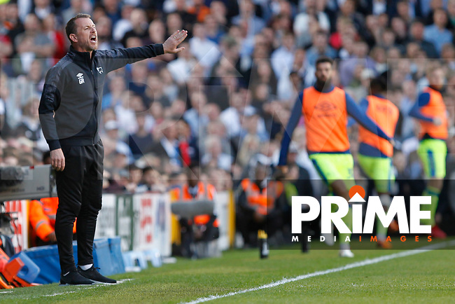 Derby County manager, Gary Rowett gesticulates during the Sky Bet Championship play off semi final 2nd leg match between Fulham and Derby County at Craven Cottage, London, England on 15 May 2018. Photo by Carlton Myrie / PRiME Media Images.