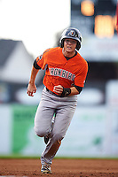 Aberdeen IronBirds right fielder Cole Billingsley (4) running the bases during a game against the Batavia Muckdogs on July 15, 2016 at Dwyer Stadium in Batavia, New York.  Aberdeen defeated Batavia 4-2.  (Mike Janes/Four Seam Images)