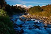 Whakapapanui stream with Mount Ngauruhoe in the distance,  Tongariro National Park, North Island, New Zealand
