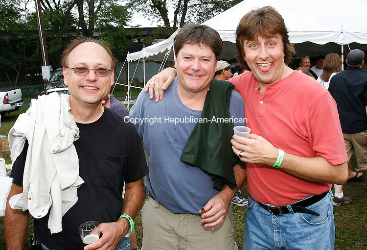 WATERBURY, CT, 09/13/08- 091308BZ04- From left- Gary Zames, of Bridgeport, Jack Warren, of Stratford, and Steve Zoul, of Bridgeport, three members of the band &quot;The Dummys&quot; at the 3rd annual Brass City Brewfest in Library Park Saturday afternoon.  <br /> Jamison C. Bazinet Republican-American
