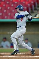 Jeremy Cleveland of the Stockton Ports bats during a 2004 season California League game against the High Desert Mavericks at Mavericks Stadium in Adelanto, California. (Larry Goren/Four Seam Images)