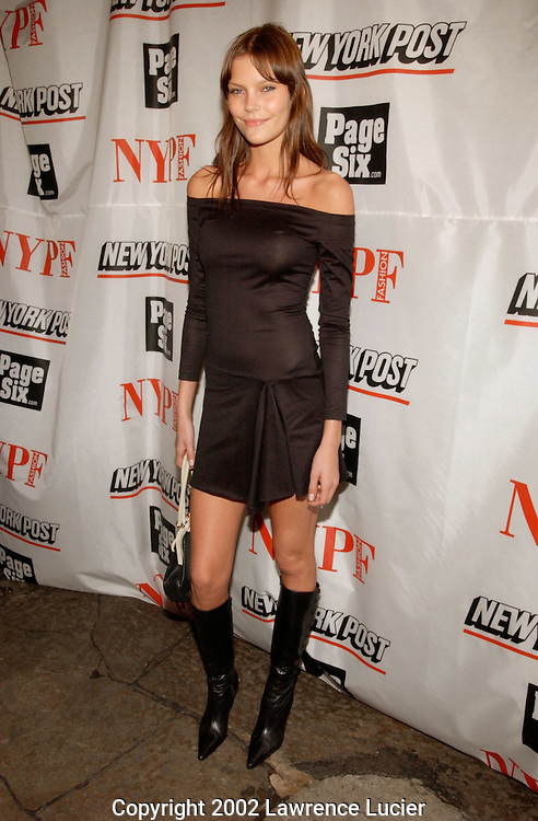 Model May Anderson arrives at the launch party for the New York Post's first 20 page full-color fashion supplement February 7, 2002, in New York.  Sarah and Lachlan Murdoch hosted the party at the Mercer Kitchen in Soho..
