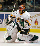"19 January 2007: University of Vermont goaltender Mike Spillane from Bow, NH, warms up prior to a Hockey East division matchup against Boston College at Gutterson Fieldhouse in Burlington, Vermont. The UVM Catamounts defeated the BC Eagles 3-2 before a record setting 50th consecutive sellout at ""the Gut""...Mandatory Photo Credit: Ed Wolfstein Photo."