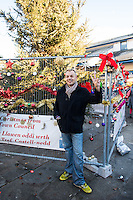 "Pictured: Darren Bromham-Nichols, who organised the decorating session. Saturday 03 December 2016<br /> Re: Residents are making their own decorations for Neath's Christmas tree this year after complaints about the town's festive decorations.<br /> Neath resident Darren Bromham-Nichols is calling on others to create their own decorations for the tree near the town centre, which has been described as ""bare with lots of dead wood."", although the town council has said it has received no complaints.<br /> He hopes this will make Neath Town Council, who have funded the Christmas decorations for the town, take notice and help to decorate the tree."