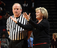 Feb. 7, 2011; Charlottesville, VA, USA; Virginia Cavaliers head coach Debbie Ryan talks with the referee during the second half of the game against the Florida State Seminoles at the John Paul Jones Arena. The Florida State Seminoles won 78-74. Mandatory Credit: Andrew Shurtleff-US PRESSWIRE