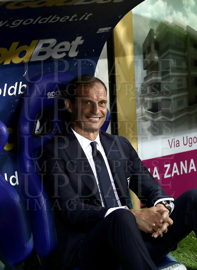 Calcio, Serie A: Parma - Juventus, Parma stadio Ennio Tardini, 1 settembre 2018.<br /> Juventus' coach Massimiliano Allegri smiles prior to the Italian Serie A football match between Parma and Juventus at Parma's Ennio Tardini stadium, September 1, 2018. <br /> UPDATE IMAGES PRESS/Isabella Bonotto