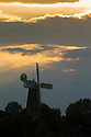 15/09/14 <br /> <br /> An autumnal sunset silhouettes Moulton Windmill in the Lincolnshire village of Moulton, the restored windmill is claimed to be the tallest tower mill in the United Kingdom. The nine-storeyed mill is 80 ft to the curb and 100 ft to top of its cap.<br /> All Rights Reserved - F Stop Press.  www.fstoppress.com. Tel: +44 (0)1335 300098