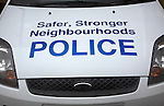 Safer, stronger neighbourhoods police car bonnet sign, Bath, England