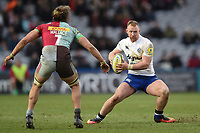 Will Hurrell of Bath Rugby in possession. Aviva Premiership match, between Harlequins and Bath Rugby on March 2, 2018 at the Twickenham Stoop in London, England. Photo by: Patrick Khachfe / Onside Images