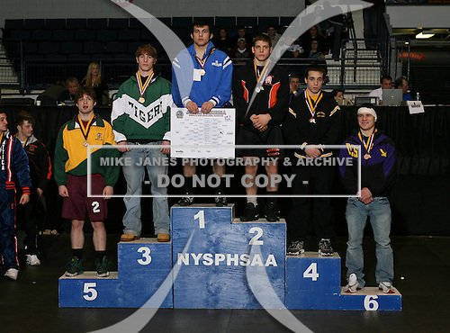 Derek Brenon (1st - Immaculate Heart); Nicholas Czapla (2nd - Warsaw); Aaron Barber (3rd - Hudson Falls); David Kohlbach (4th - Windsor); Cody Legg (5th - RCS); and Wes Copppolo (6th - Duanesburg) pose on the podium for the Division Two 152 weight class during the NY State Wrestling Championship finals at Blue Cross Arena on March 9, 2009 in Rochester, New York.  (Copyright Mike Janes Photography)