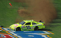Apr 27, 2008; Talladega, AL, USA; NASCAR Sprint Cup Series driver Paul Menard (15) spins during the Aarons 499 at Talladega Superspeedway. Mandatory Credit: Mark J. Rebilas-