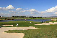 A view of the 18th green and water feature during Round 1 of the Challenge de Madrid, a Challenge  Tour event in El Encin Golf Club, Madrid on Wednesday 22nd April 2015.<br /> Picture:  Thos Caffrey / www.golffile.ie