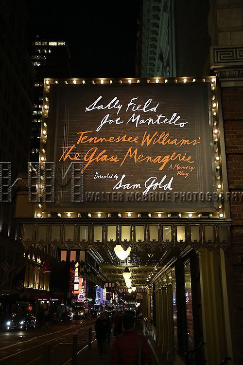 Theatre Marquee unveiling for 'The Glass Menagerie' starring Sally Field, Finn Wittrock, Joe Mantello and Madison Ferris at the Belasco Theatre on November 17, 2016 in New York City.
