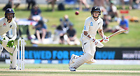 24th November 2019; Mt Maunganui, New Zealand;  Mitchell Santner batting on day 4 of the 1st international cricket test match, New Zealand versus England at Bay Oval, Mt Maunganui, New Zealand.  - Editorial Use
