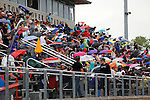 28 MAY 2016: Fans watch the action during the Division III Men's and Women's Outdoor Track & Field Championship held at Walston Hoover Stadium on the Wartburg College campus in Waverly, IA. Conrad Schmidt/NCAA Photos