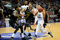 GRONINGEN - Basketbal, Donar - Telenet Giants Antwerp, Martiniplaza,  Europe Cup, seizoen 2017-2018, 06-12-2017,  Donar speler Brandyn Curry met Antwerp speler Dave Dudzinski