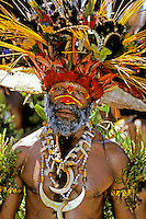Papua New Guinea, Western Highlands Province, Mt. Hagen Cultural Show, man in feather headdress