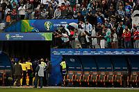 SÃO PAULO, SP 06.07.2019: ARGENTINA-CHILE - O árbitro Mario Diaz de Vivar é xingado por torcedores argentinos. Argentina e Chile durante partida válida pela disputa do terceiro lugar da Copa América Brasil 2019, que acontece na Arena Corinthians, zona leste da capital paulista na tarde deste sábado (06). (Foto: Ale Frata/Código19)