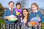 Rose of Tralee Clare Kambamettu with Eimear Litchford, Gary Bala and Alex Sheridan visited Balloonagh Primary School on Tuesday morning to launch their book week.