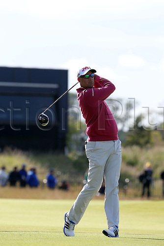 15.07.2015. The Old Course, St Andrews, Fife, Scotland.  Stewart Cink (USA) of the United States watches his shot during a practice round of the 144th British Open Championship at the Old Course, St Andrews in Fife, Scotland.