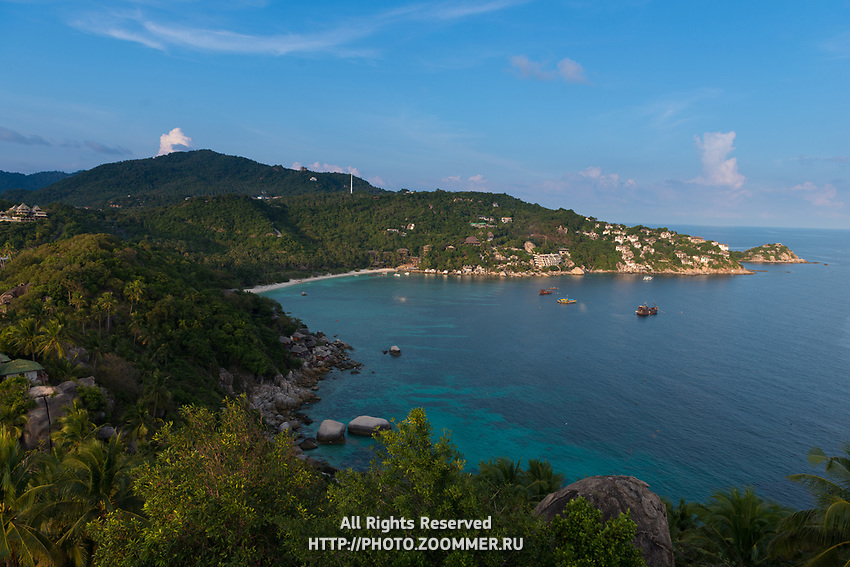 Ko Tao island view of Shark bay from the high rocky hill, Thailand