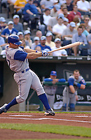 Blue Jays right fielder Reed Johnson hits his first Major League home run on a 1-1 count off of Royals starting pitcher Jeremy Affeldt in the first inning at Kauffman Stadium in Kansas City, Mo., on May 17, 2003. Toronto won 7-4.