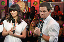 "NEW YORK - JUNE 10:  Mark Wahlberg and  Zooey Deschanel visit MTV's ""TRL"" on June 10, 2008 at the MTV Studios in New York.  (Photo by Soul Brother/FilmMagic)"