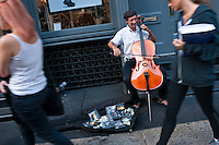 New York, NY -  18 September 2010 - Cellist Peter Lewy performing on Prince street in Soho