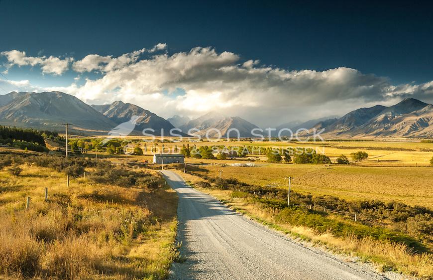 Gravel road leading to Mesopotamia Station, Rangitata valley, South Canterbury NZ