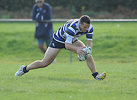 28th September 2013; Sean O'Hagan, Corinthians, scores his side's second try. Ulster Bank League Division 1B, Dublin University v Corinthians, Sydney Parade, Dublin. Picture credit: Tommy Grealy / Actionshots.ie