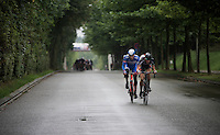 Daan Myngheer (BEL/VerandasWillems) &amp; Frederik Backaert (BEL/Wanty-Groupe Gobert) succeed in staying ahead of the peloton with 10km to go, but their advantage is never bigger than 1 minute.<br /> <br /> Brussels Cycling Classic 2015