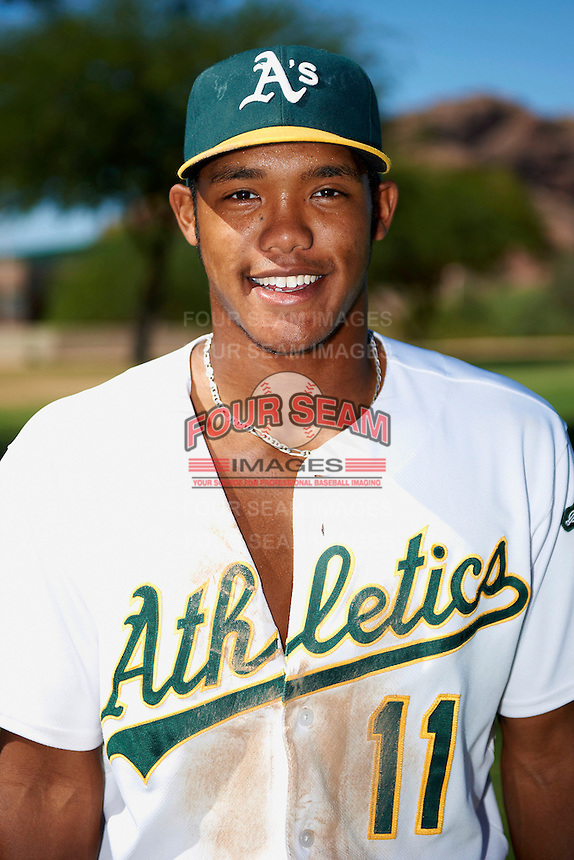 Oakland Athletics minor league infielder Addison Russell #11 poses for a photo after an instructional league game against the San Francisco Giants at the Papago Park Baseball Complex on October 17, 2012 in Phoenix, Arizona. (Mike Janes/Four Seam Images)