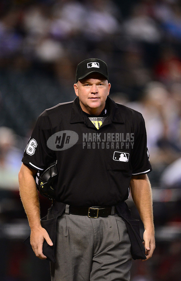 Aug. 29, 2012; Phoenix, AZ, USA: MLB umpire Ron Kulpa during game between the Cincinnati Reds against the Arizona Diamondbacks at Chase Field. Mandatory Credit: Mark J. Rebilas-USA TODAY Sports