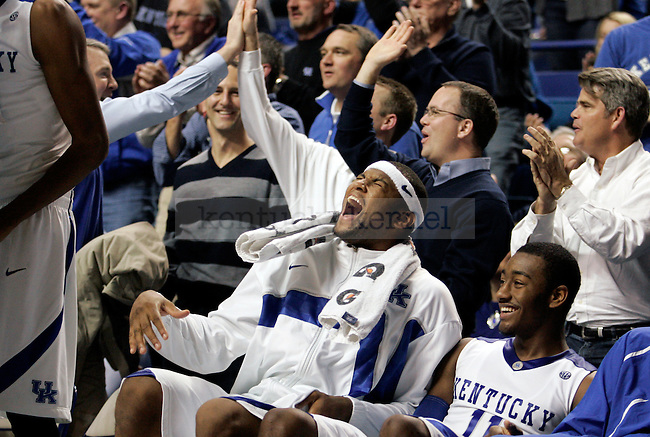 Freshman DeMarcus Cousins cheers on the bench in the second half of UK's 104-61 win over Hartford at Rupp Arena on Monday, Dec. 29, 2009. Photo by Britney McIntosh | Staff