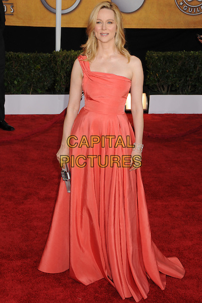 LAURA LINNEY.The 15th Annual Screen Actors Guild Awards held at the Shrine Auditorium, Los Angeles, California, USA..January 25th, 2009.SAG arrivals full length one shoulder pink orange peach coral dress gown long maxi silver clutch bag .CAP/ADM/BP.©Byron Purvis/AdMedia/Capital Pictures.