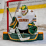 29 December 2018: University of Vermont Catamount Goaltender Stefanos Lekkas, a Junior from Elburn, IL, makes a third period save against the Rensselaer Engineers at Gutterson Fieldhouse in Burlington, Vermont. The Catamounts rallied from a 2-0 deficit to defeat RPI 4-2 and win the annual Catamount Cup Tournament. Mandatory Credit: Ed Wolfstein Photo *** RAW (NEF) Image File Available ***