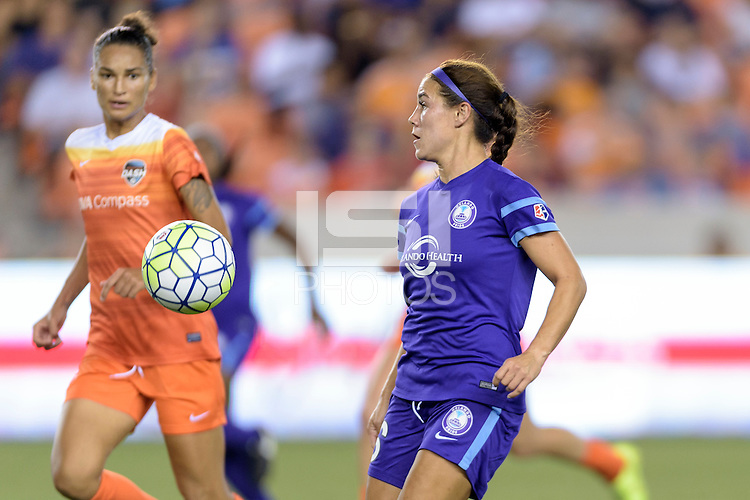 Samantha Witteman (26) of the Orlando Pride attempts to gain control of a loose ball against the Houston Dash on Friday, May 20, 2016 at BBVA Compass Stadium in Houston Texas. The Orlando Pride defeated the Houston Dash 1-0.