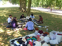 Back strap weaving in Hyde Park, summer 2015