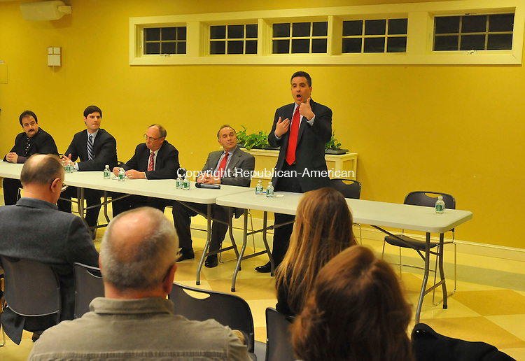 WOODBURY, CT-03 MARCH 2010-030310IP05-Republican candidates for the 5th District congressional seat (l to r) Bill Evans, Justin Bernier, Kie Westby, Mark Greenberg and State Senator Sam Caligiuri participate in a forum sponsored by Connecticut Deserves Better Government at the Woodbury Senior Center on Wednesday evening.<br /> Irena Pastorello Republican-American