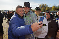 Former Swansea City player Oliver McBurnie has a selfie taken by a supporter prior the Sky Bet Championship match between Swansea City and Cardiff City at the Liberty Stadium, Swansea, Wales, UK. Sunday 27 October 2019