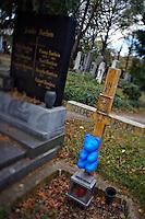 "Allerheiligen (All Saints) at Vienna's ""Zentralfriedhof"" (""Central Cemetary""), the city's biggest graveyard. Tomb of little baby bear Ursula."