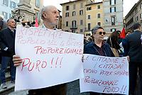 Roma, 11 Ottobre 2107<br /> Legge elettorale, Sinistra Italiana, MDP, e Possibile in Piazza contro la fiducia.