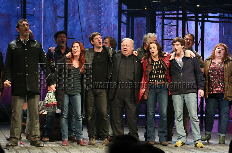 Jimmy Nail, Rachel Tucker, Michael Esper, Fred Applegate, Sally Ann Triplett and Collin Kelly- Sordelet with cast during the Broadway Opening Night Performance Curtain Call for 'The Last Ship' at the Neil Simon Theatre on October 26, 2014 in New York City.