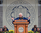 May 17, 2015; Christopher Patten, chancellor of the University of Oxford and Commencement speaker delivers his address at the 2015 Commencement ceremony in Notre Dame Stadium. (Photo by Barbara Johnston/University of Notre Dame)