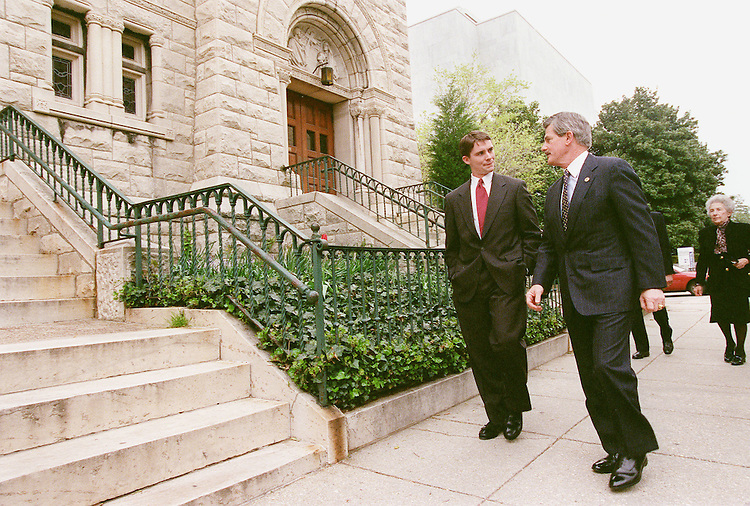4/11/00.FATHER COUGHLIN--Republican National Committee Chairman Jim Nicholson, right, arrives at St. Peter's on the Hill for a Mass welcoming the new House chaplain, Rev. Daniel Coughlin..CONGRESSIONAL QUARTERLY PHOTO BY SCOTT J. FERRELL